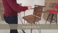 Bergama ahşap kollu bar sandalyesi