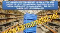 KARMA METAL-Lojistik depo santiye istiflenebilir katlanabilir metal taşıma kasası sandıkları fiyatı...