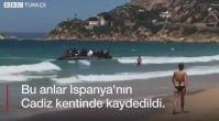 Göçmenlerin Avrupa'daki bir plaja ayak bastıkları an