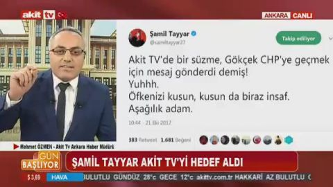 Image result for Akit TV Ankara Haber Müdürü Mehmet Özmen bu sabahki programda Şamil Tayyar'ın Twitter mesajına yanıt verdi.