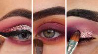 Sonbahar renkleriyle ışıltılı göz makyajları