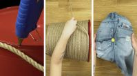 Kot pantolon ve halattan tabure yapımı
